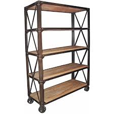Wooden Bedside Bookcase Shelving Display Chorley Industrial Rustic Metal Wood Rolling Bookcase With Wheels