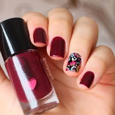 red nails polish flowers nail art nail design polishes polish