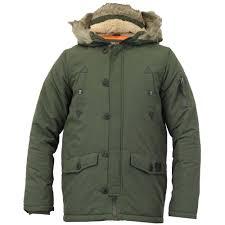 boys jacket parka coat brave soul kids padded sherpa hooded fur