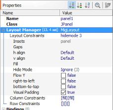 Java Null Layout Manager Swing | layout manager properties jformdesigner java swing gui designer