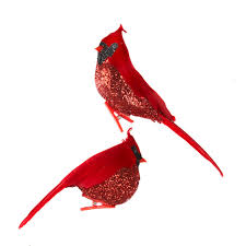 club pack of 12 glittered red cardinal bird clip on christmas