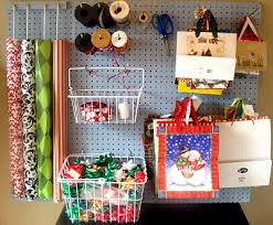 present wrapping station great use of the baskets and pegs for gift bags not loving the