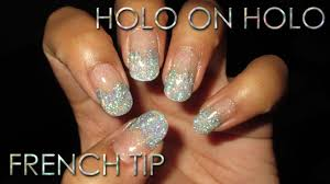 holo on holo new year u0027s eve bling french tip diy nail art