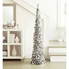 silver tinsel tree 5 ft collapsible pop up slim