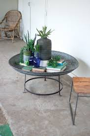 imported indian rustic metal garden coffee table