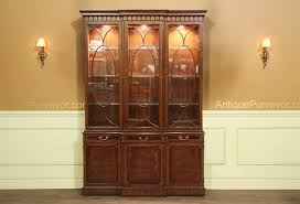China Cabinets With Glass Doors Traditional Inlaid Mahogany China Cabinet Hutch Breakfront