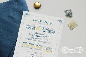 wedding invitations queensland natalie chris vintage typographic navy yellow custom wedding