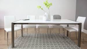 High Gloss Extending Dining Table White High Gloss Extending Dining Table Brushed Metal Legs