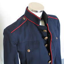 vintage navy blue serge marine dress blouse jacket with red piping