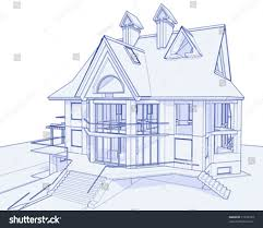 blueprint house 3d blueprint house vector technical draw stock vector 17455723