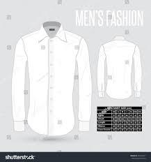 mens white dress shirt front back stock vector 278135441
