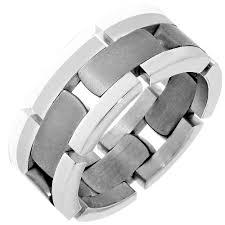 dora mens link wedding band in 14kt and titanium 8mm