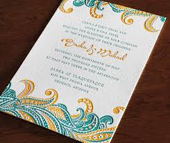 design wedding invitations sneha indian abstract feather inspired letterpress wedding card