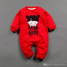 new year baby clothes cotton new year infant onesie suits sleeve