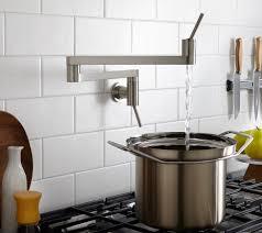 decorating white daltile backsplash with unique pot filler faucet