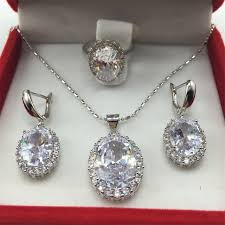 sterling silver necklace sets images White color huge white stone 925 sterling silver jewelry set jpg