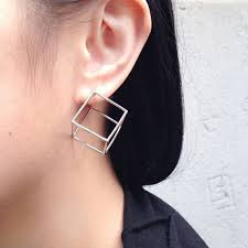 creative earrings 2017 creative 3d geometric cubic stud earrings for women three