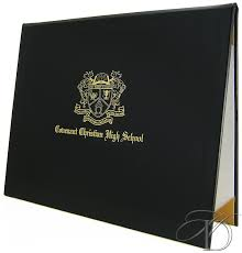 8 5 x 11 padded diploma cover christian education crest design