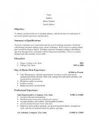 Objectives Resume Examples by Stay At Home Mum Career Objective Resume Template Example