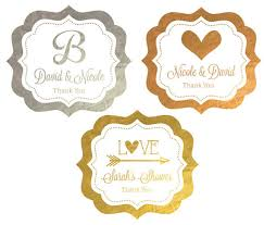 labels for wedding favors personalized metallic foil frame labels wedding