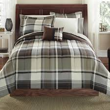 Plaid Bed Sets Mainstays Bed In A Bag Bedding Comforter Set Brown Plaid