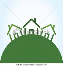 three houses three houses on a green hill a vector illustration vectors