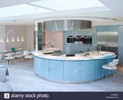 kitchen breakfast bar island blue and white curved breakfast bar island in modern kitchen of
