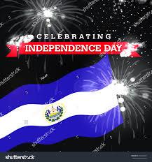 Flag El Salvador Independence Day Fireworks El Salvador Flag Stock Illustration