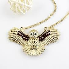 long gold owl necklace images Owl necklace long gold color chain with rhinestone bird necklaces jpg