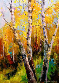 saatchi birch trees painting by olha darchuk