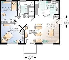 plan de maison avec cuisine ouverte plan simple de plain pied avec cotes 2 chambres et cuisine ouverte