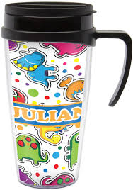dinosaur print travel mug with handle personalized potty