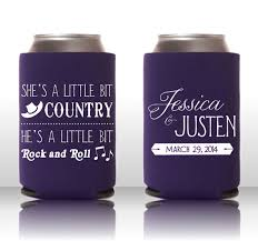 wedding koozie ideas she s a bit country he s a bit rock n roll