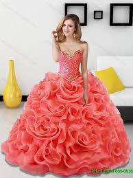coral pink quinceanera dresses beading and rolling flowers coral sweet 15 quinceanera dresses