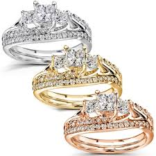 overstock wedding ring sets annello 14k gold 1 1 10ct tdw diamond bridal rings set free