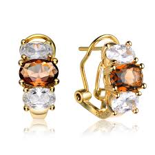 cubic zirconia earrings flawless cubic gold silver oval cut brown and clear cubic