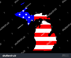 State Of Michigan Map Map State Michigan American Flag Stock Vector 3072233 Shutterstock
