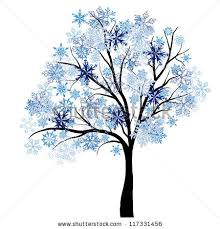 beautiful winter tree snowflakes leaves vector stock vector
