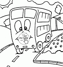 funny cartoon bus coloring page for preschoolers transportation