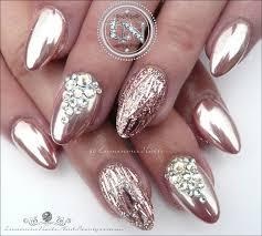 luminous nails glamorous rose gold chrome u0026 rose gold glitter