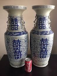 Mirror Vases Lge Pair Old Chinese Blue White Porcelain Baluster Mirror Vases