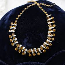 rhinestone collar necklace images 1950s christian dior by kramer amber rhinestone collar necklace jpg