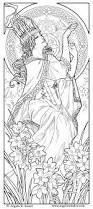 free coloring page coloring woman art nouveau style