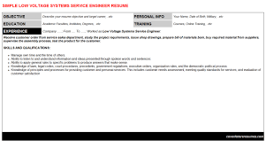 low voltage systems service engineer cover letter u0026 resume