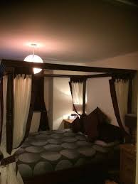 hand made dark wood four poster bed very sturdy bargain in elgin