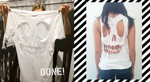 how to make a diy cut out skull t shirt for kids inhabitots