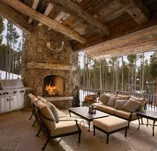 rustic fireplace design patio rustic with fireplace ledge timber