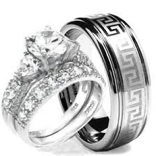 wedding ring set his hers 3 pieces hearts 925