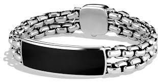 silver bracelet with black stones images David yurman exotic stone wide id bracelet with black onyx in jpeg