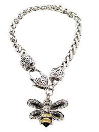 crystals fashion necklace images Bumble bee clear crystals black yellow enamel jpg